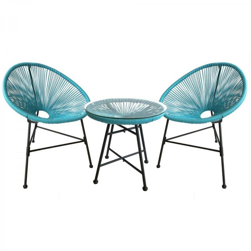 CONCEPT-USINE Acapulco : Ensemble 2 fauteuils oeuf + table basse bleu