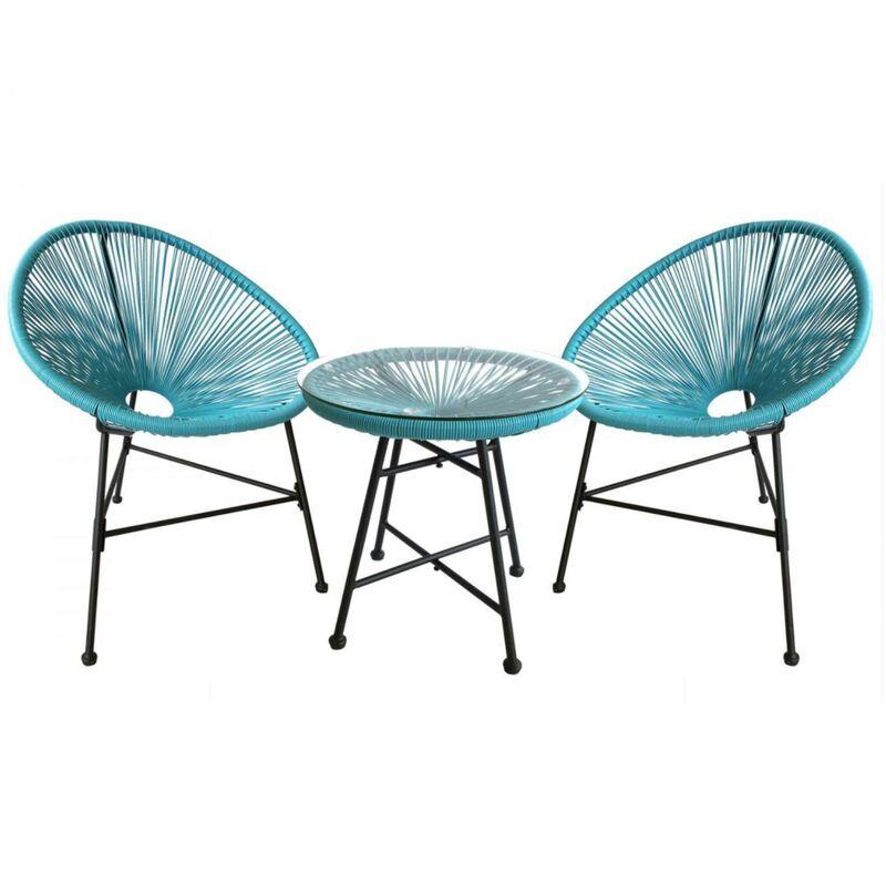 Concept-usine - Acapulco : Ensemble 2 fauteuils oeuf + table basse bleu