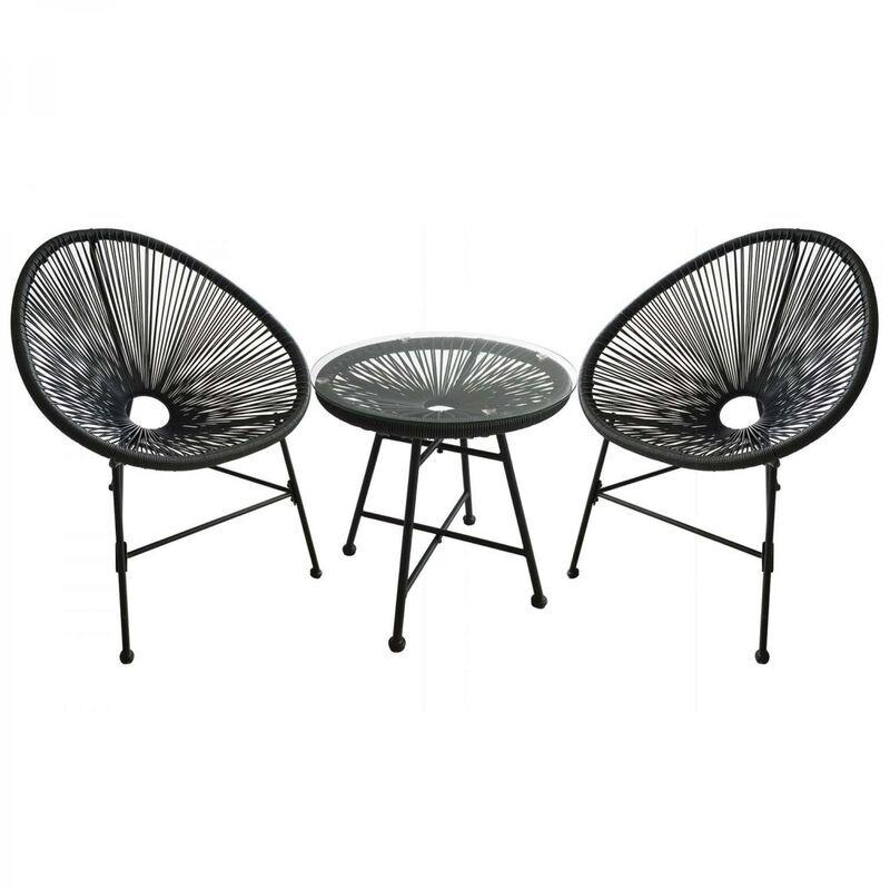 Concept-usine - Acapulco : Ensemble 2 fauteuils oeuf + table basse gris