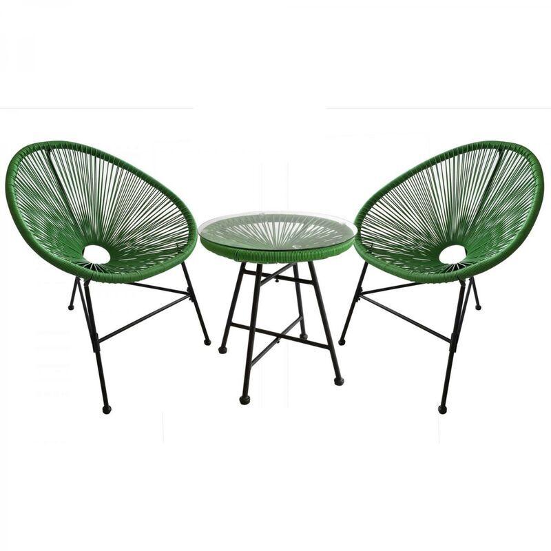 Concept-usine - Acapulco : Ensemble 2 fauteuils oeuf + table basse vert