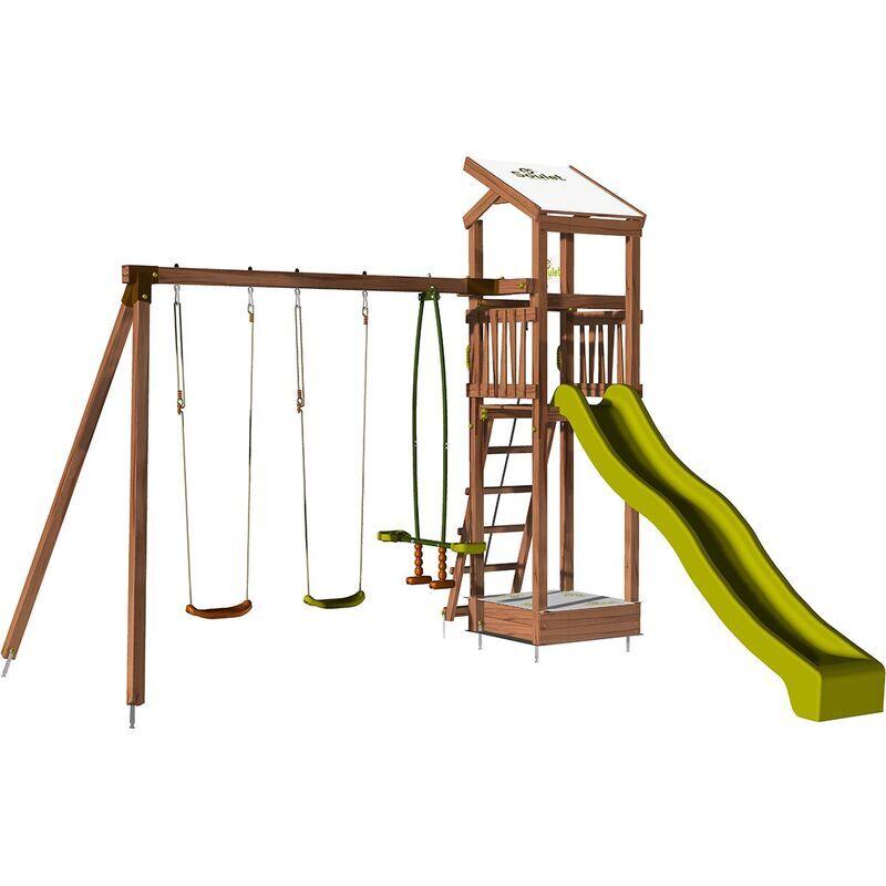 SOULET Aire de jeux pour enfant avec portique et bac à sable - HAPPY Slide 150 sans