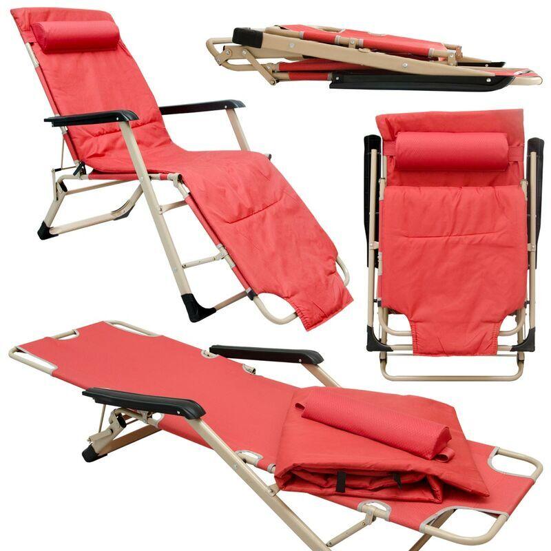 AMANKA Chaise Longue Transat 178cm pliant incl appuie-tête et coussin amovibles Rouge