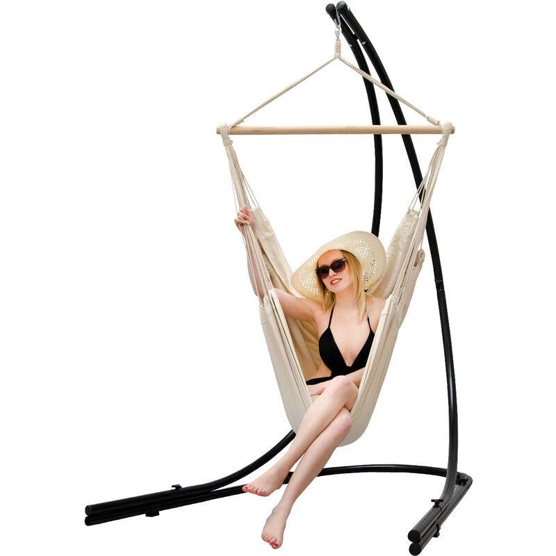 AMANKA Support Hamac avec Chaise Suspendue XXL Fauteuil de Balancoire 360° Beige