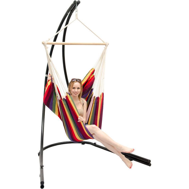 AMANKA Support Hamac avec Chaise Suspendue XXL Fauteuil de Balancoire 360° Arc-en-ciel