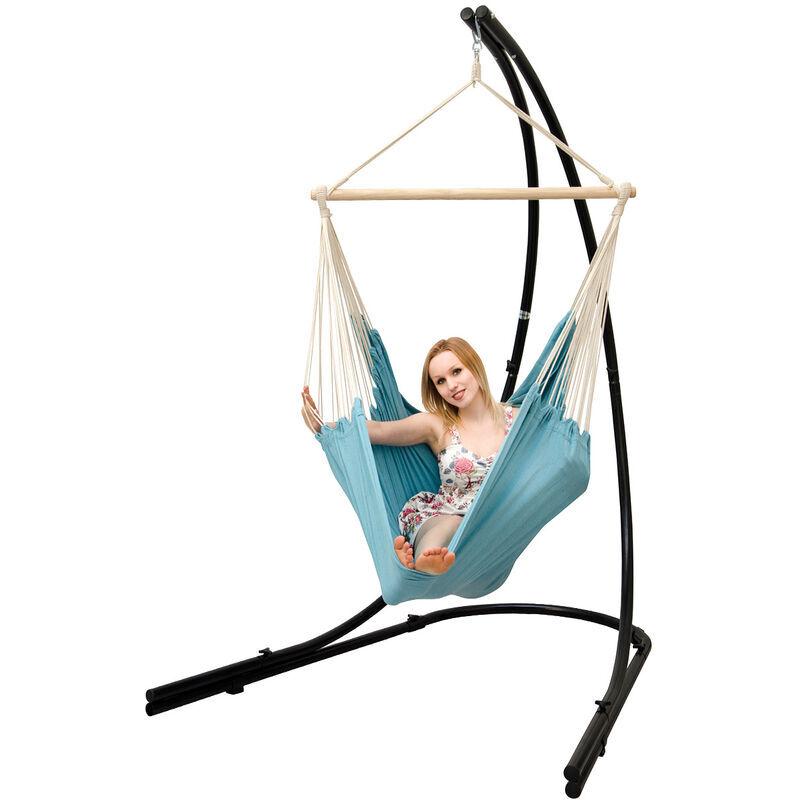 AMANKA Support Hamac avec Chaise Suspendue XXL Fauteuil de Balancoire 360° Bleu