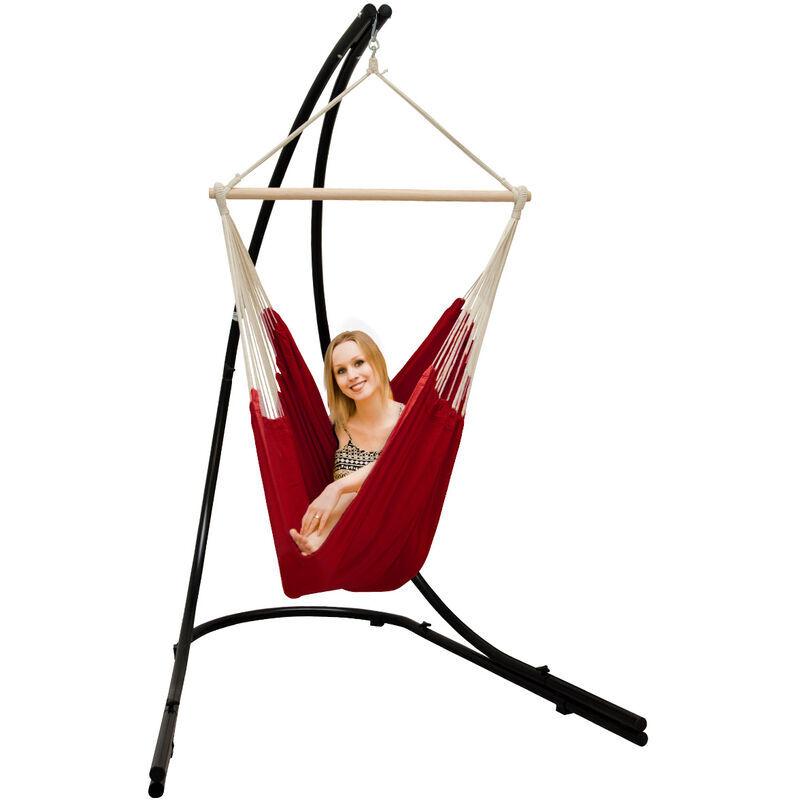 AMANKA Support Hamac avec Chaise Suspendue XXL Fauteuil de Balancoire 360° Rouge