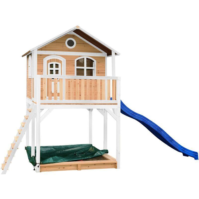 AXI Andy Maison Enfant avec Bac à Sable & Toboggan Bleu   Aire de Jeux pour