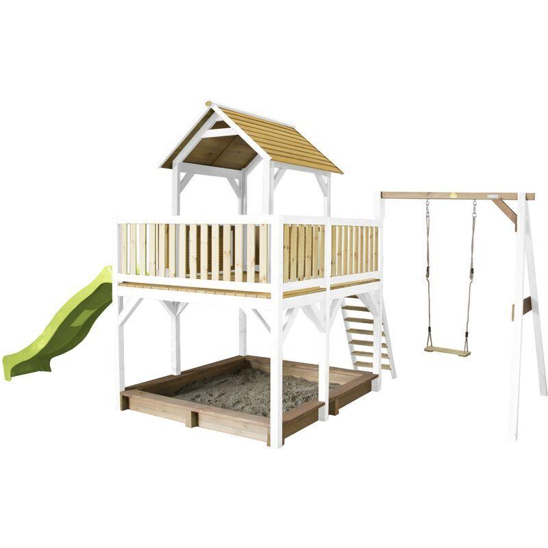 AXI Atka Maison Enfant avec Bac à Sable, Balançoire & Toboggan Vert clair