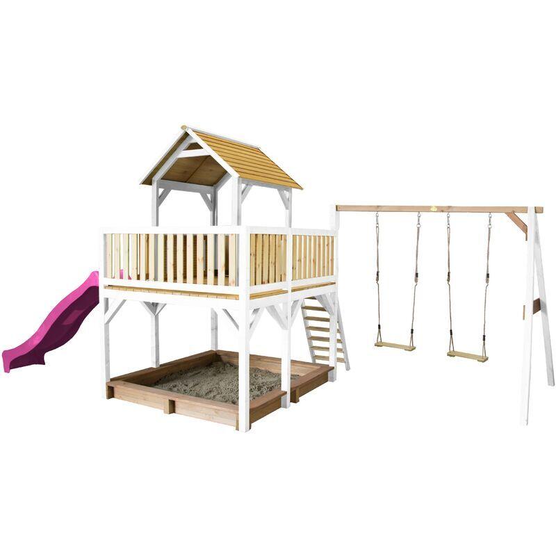 AXI Atka Maison Enfant avec Bac à Sable, 2 Balançoires & Toboggan Violet   Aire