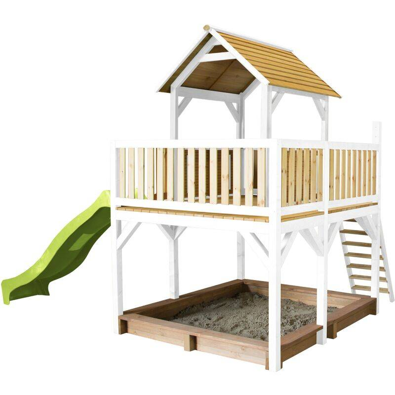 AXI Atka Maison Enfant avec Bac à Sable & Toboggan Vert clair   Aire de Jeux