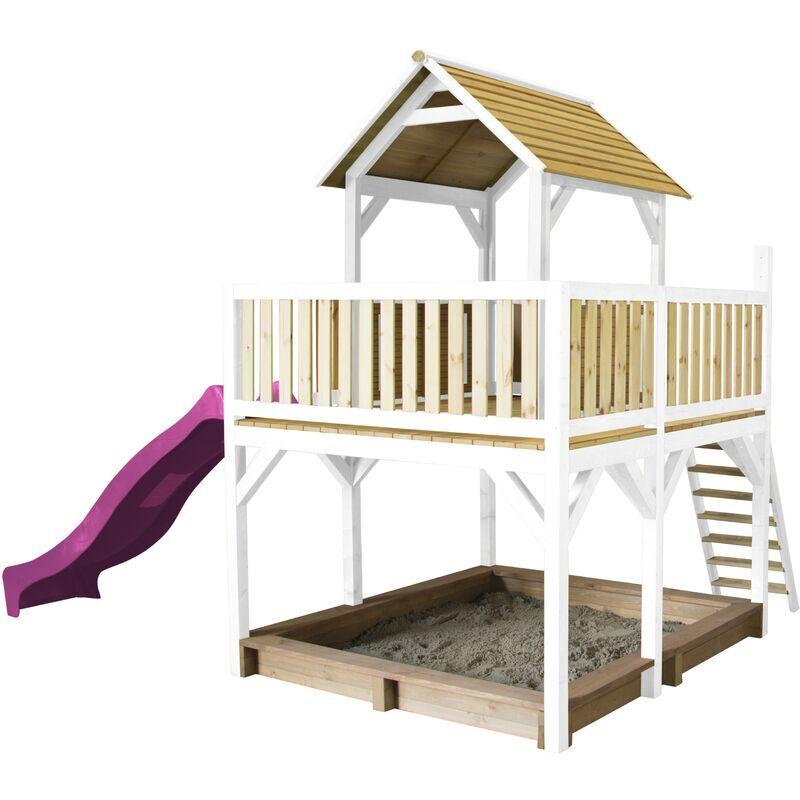 AXI Atka Maison Enfant avec Bac à Sable & Toboggan Violet   Aire de Jeux pour