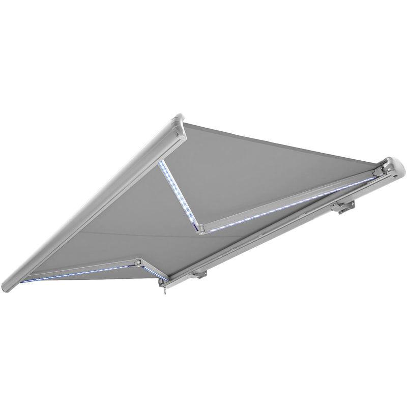 NEMAXX Store banne motorisé de NEMAXX avec LED, coloris de la toile gris clair,