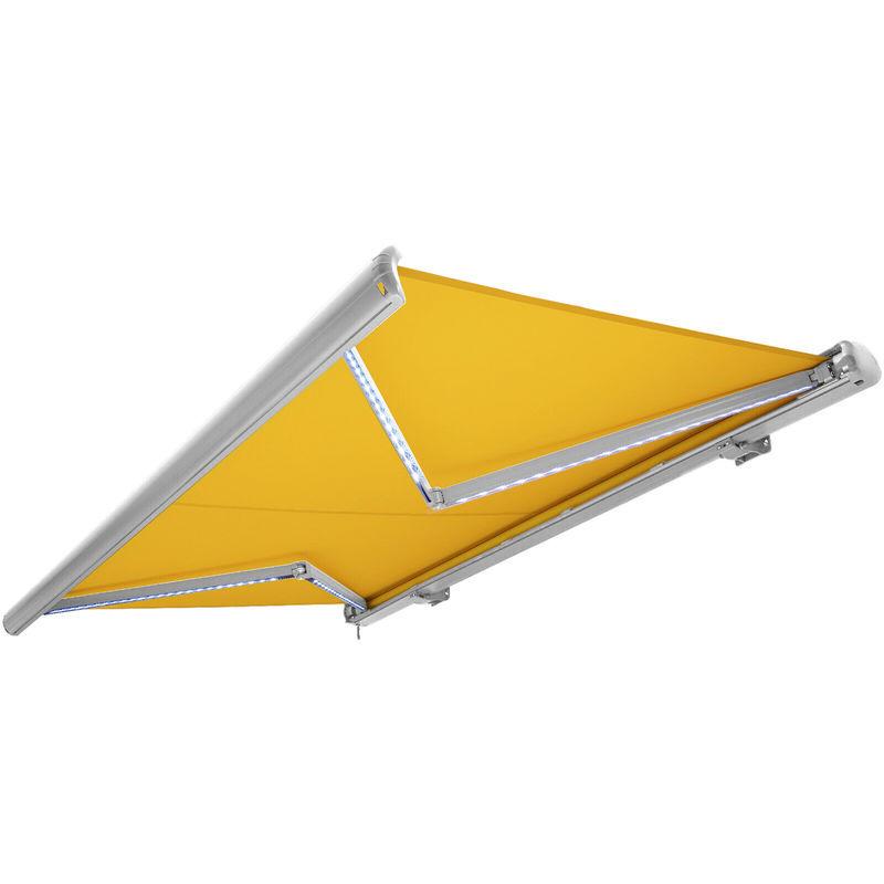 NEMAXX Store banne motorisé de NEMAXX avec LED, coloris de la toile jaune-blanc,