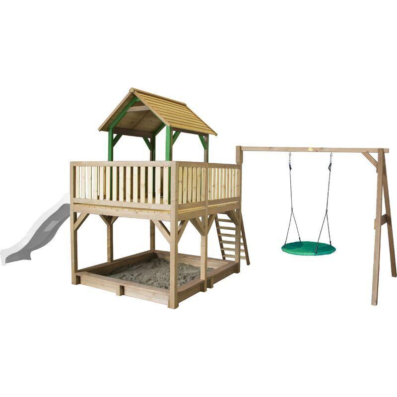 AXI Atka Maison Enfant avec Bac à Sable, Balançoire nid d'oiseau & Toboggan