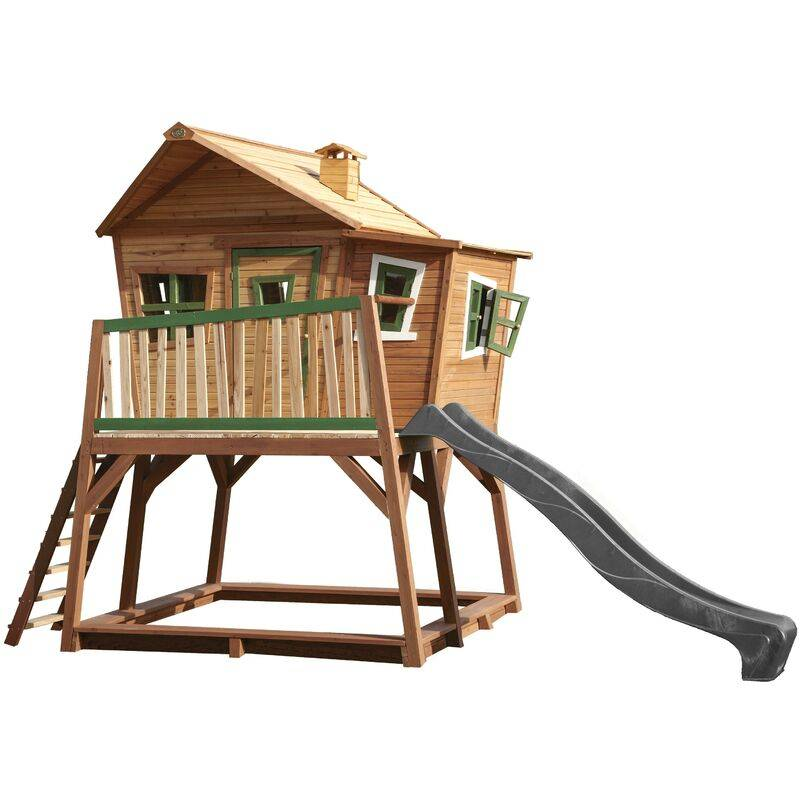 AXI Max Maison Enfant avec Bac à Sable & Toboggan Gris   Aire de Jeux pour