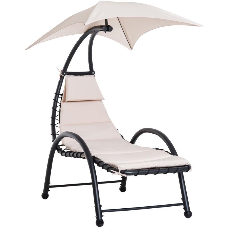 Outsunny - Bain de soleil design contemporain - pare-soleil et matelas - acier