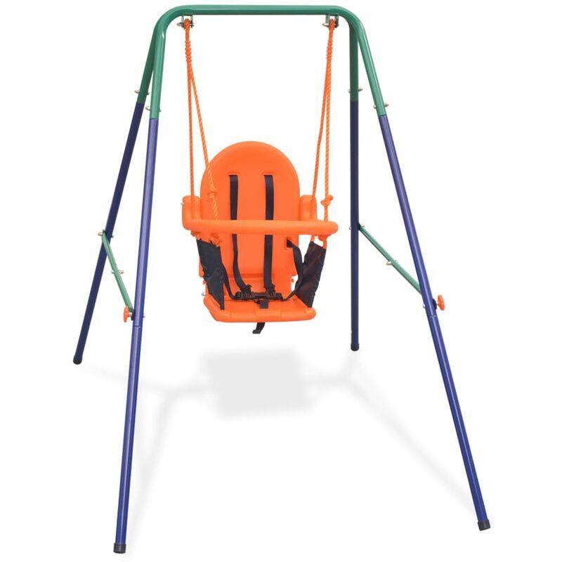 ZQYRLAR Balançoire pour enfants avec harnais de sécurité Orange
