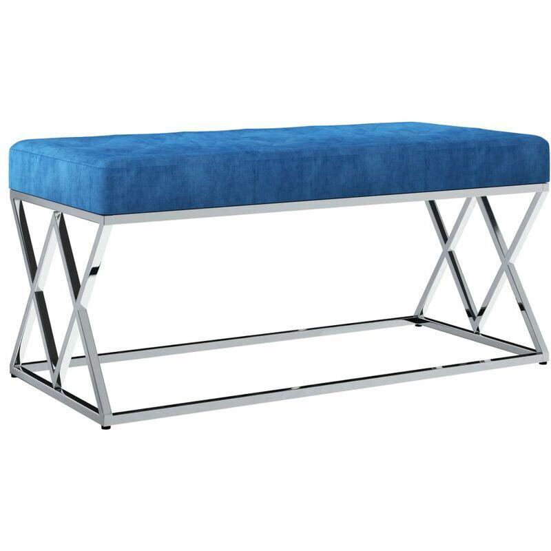 YOUTHUP Banc 97 cm Bleu Tissu de velours et acier inoxydable