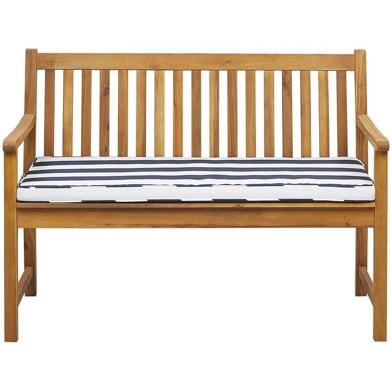 Beliani - Banc de jardin en bois acacia 120 cm avec coussin à rayures bleu