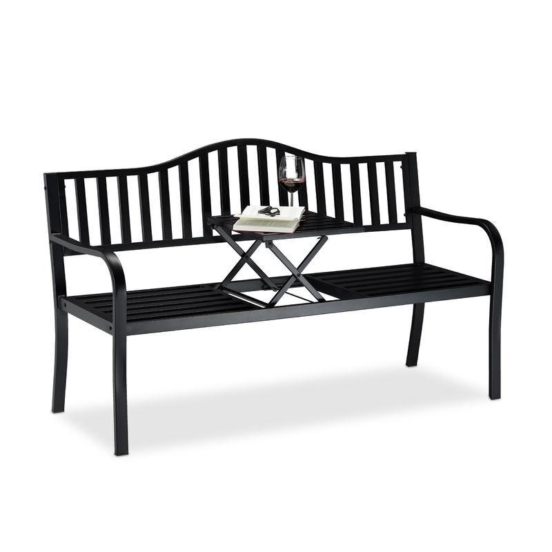 Relaxdays - Banc de jardin table pliante, 3 places, Banc extérieur balcon