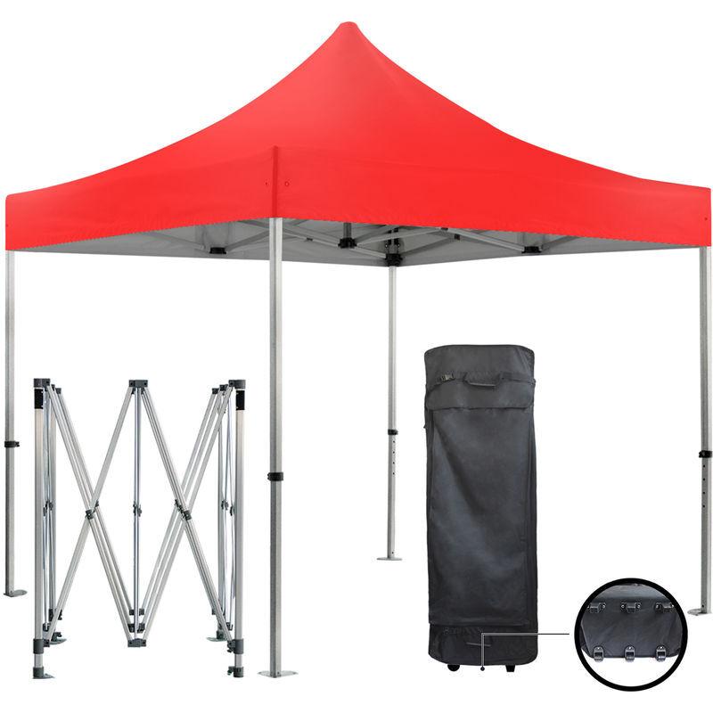 GREADEN Barnum pliante 3x3m 50mm en aluminium premium PRO 520Gr/m2 étanche rouge tente
