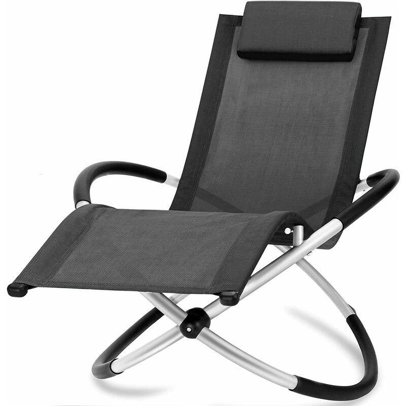 BC-ELEC HMBL-04-BLACK Chaise longue noire, relax de jardin, chaise de jardin, rocking