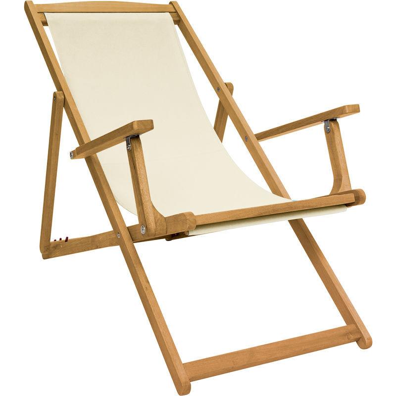 Charles Bentley - Chaise longue pliante - bois - toile crème