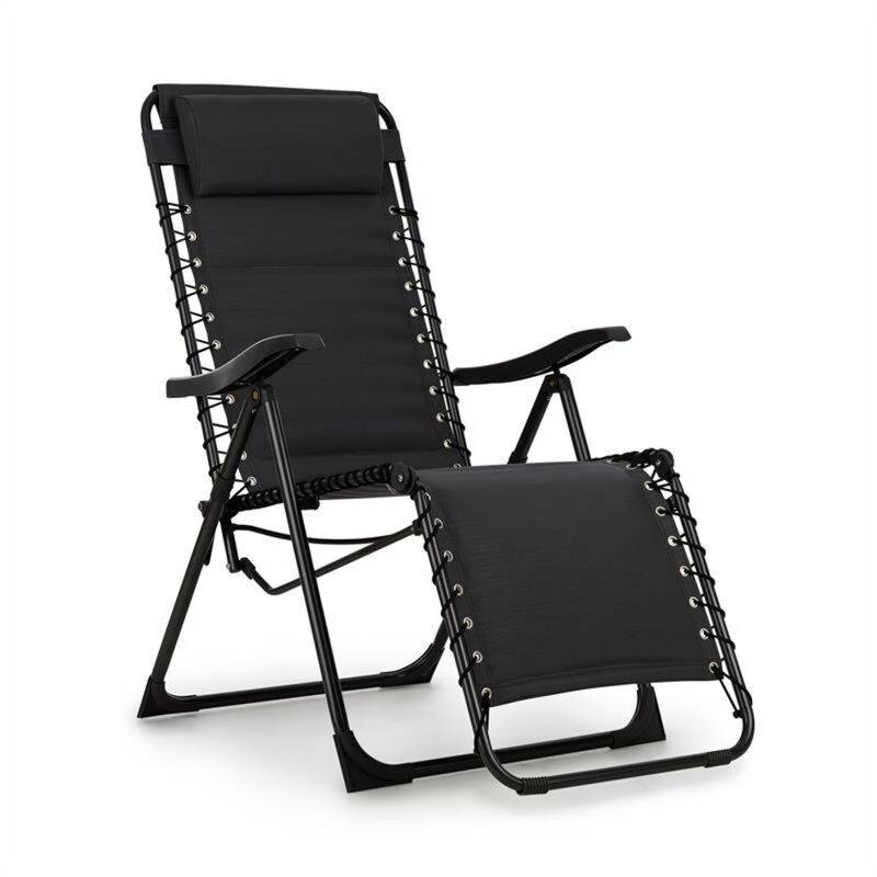 Blumfeldt California Dreaming Chaise de jardin transat pliant cadre acier noir