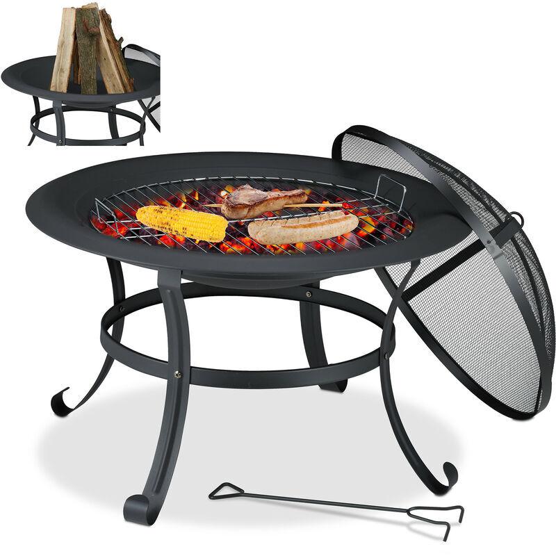 Relaxdays - Brasero, D: 73 cm, grill de rôtissage, protection étincelles,