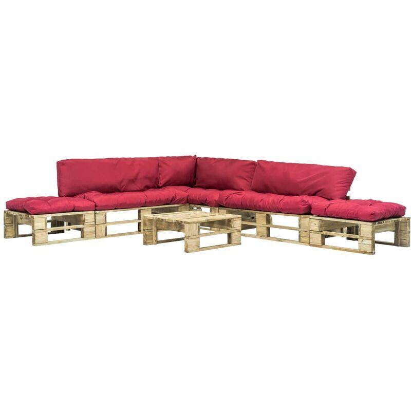 VIDAXL Salon de jardin 6 pcs palettes avec coussins rouges Bois