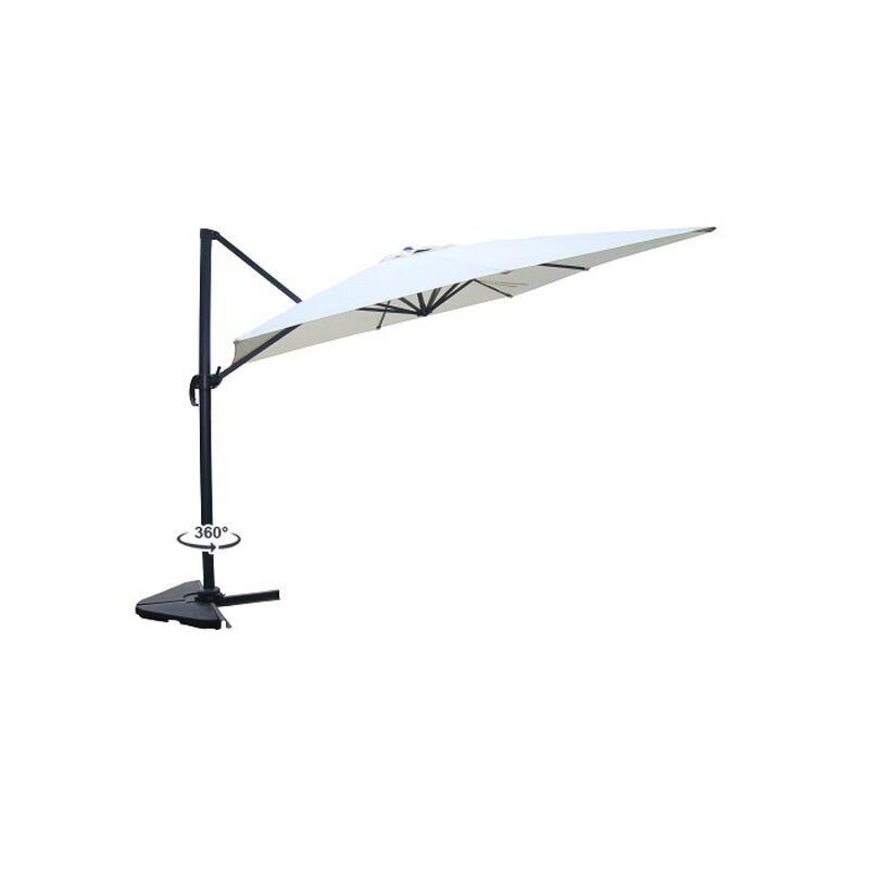 Concept-usine - Cesare écru : Parasol déporté, rectangulaire de 3x4m, rotatif à