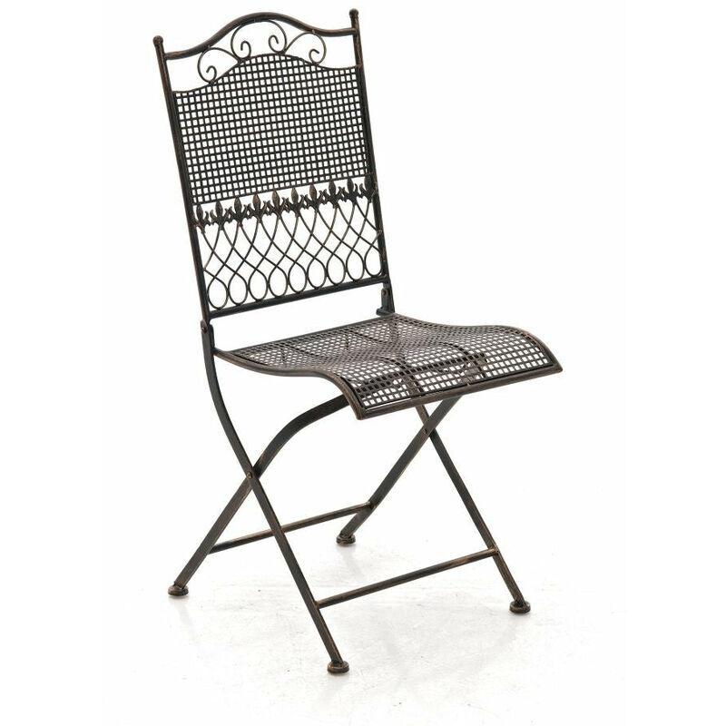 DéCOSHOP26 Chaise de jardin en fer forgé bronze vieilli - or