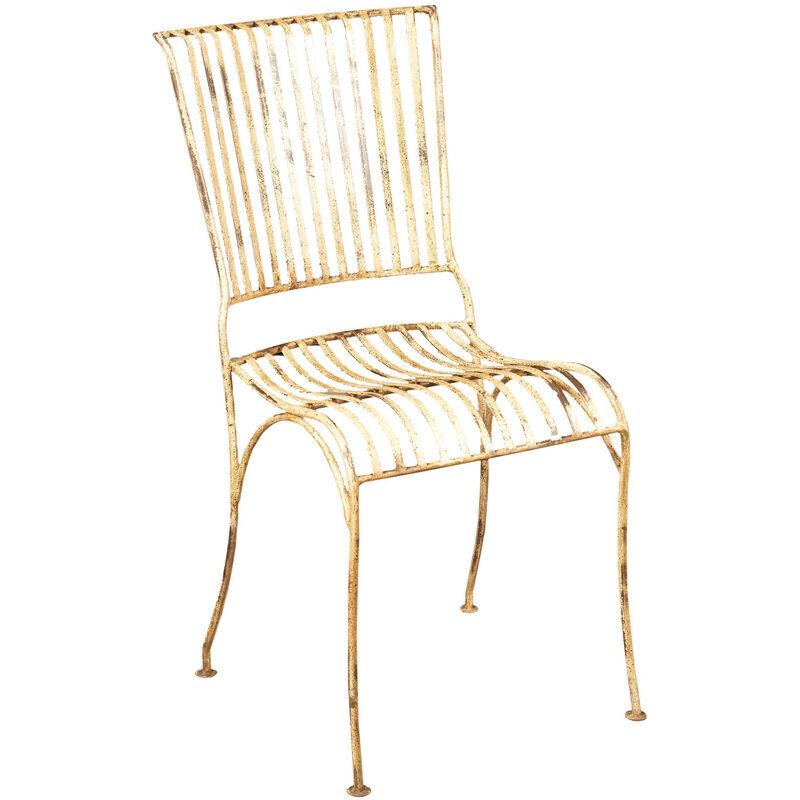 BISCOTTINI Chaise de salle à manger d'extérieur en fer forgé, finition blanche antique