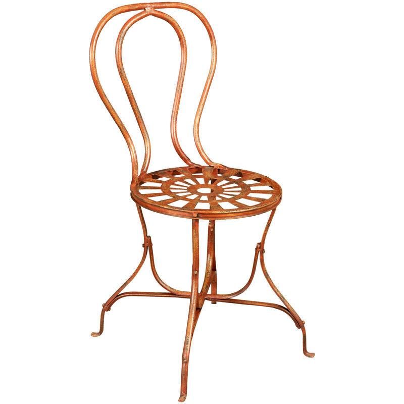 BISCOTTINI Chaise de salle à manger de jardin d'extérieur en fer forgé finition rouge