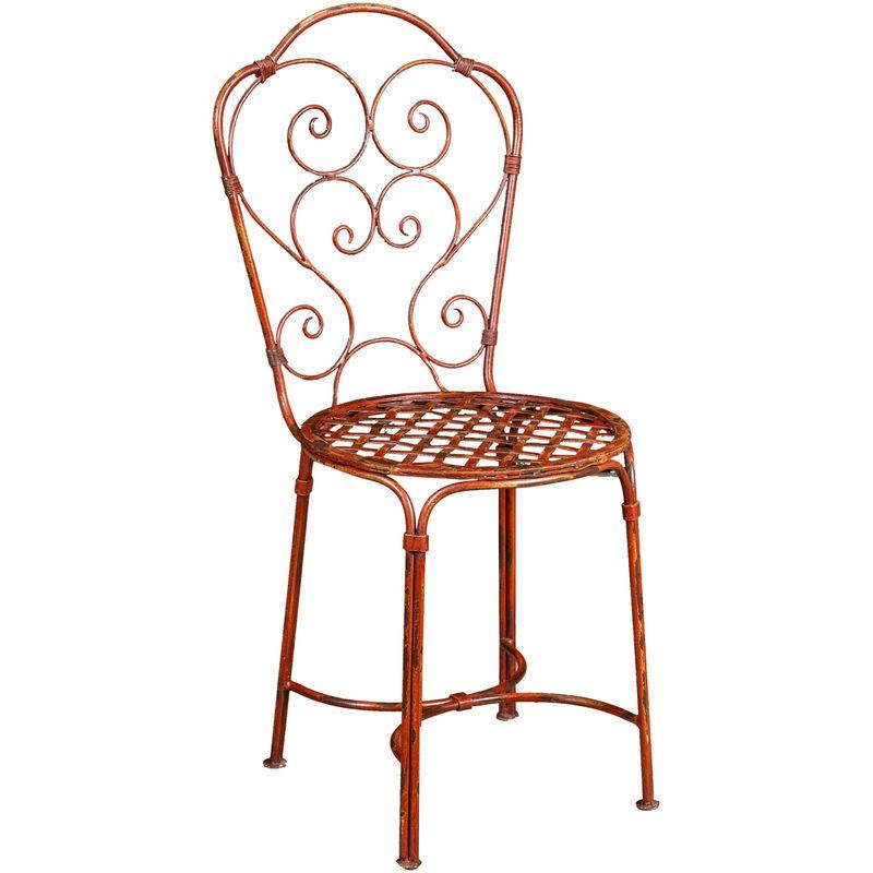 BISCOTTINI Chaise de salle à manger de jardin d'extérieur en fer forgé avec finition rouge