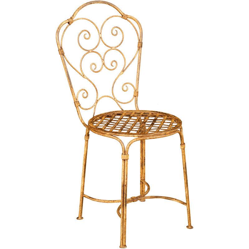BISCOTTINI Chaise de salle à manger de jardin d'extérieur en fer forgé avec finition crème