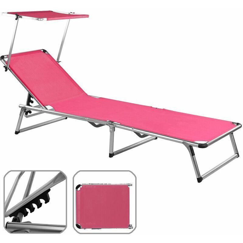 DEUBA Chaise longue avec pare soleil pliante aluminium Transat pliable Parasol Noir
