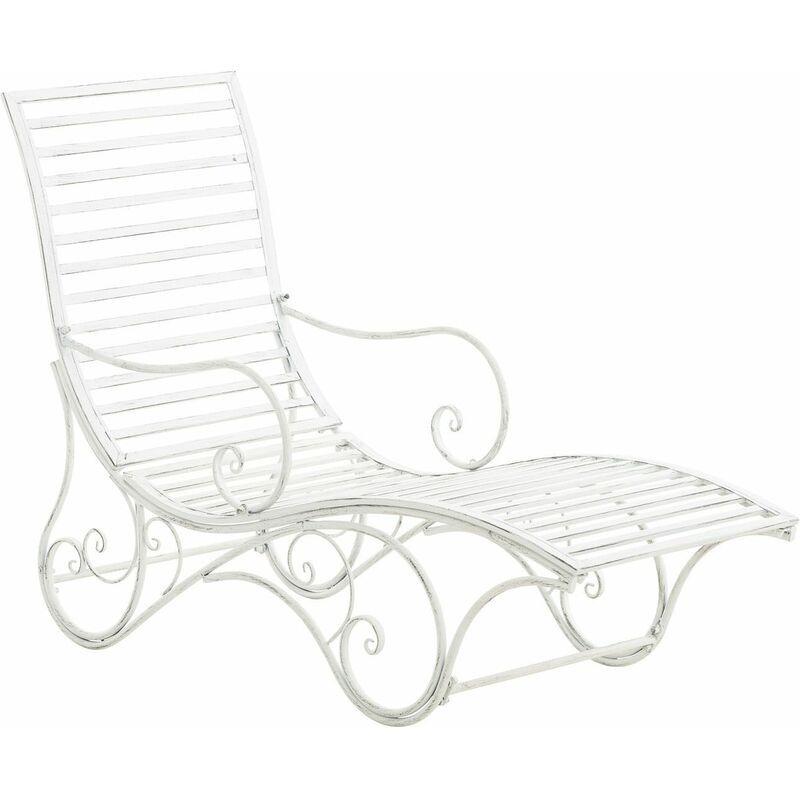 CLP Chaise longue pour jardin Amiens en fer forgé antique_blanc