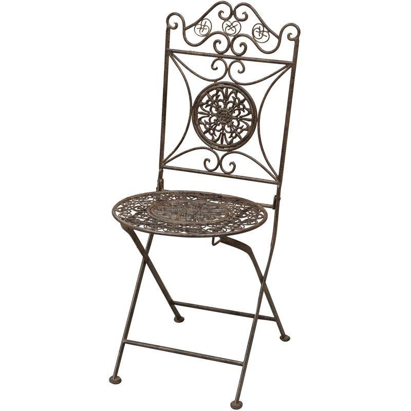BISCOTTINI Chaise pliant de salle à manger de jardin d'extérieur en fer forgé complet
