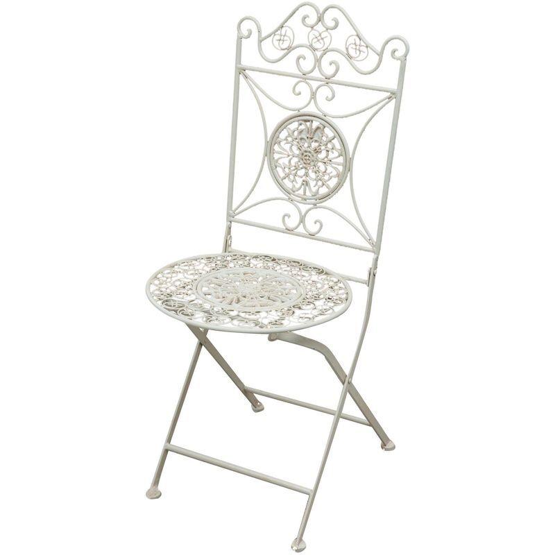 BISCOTTINI Chaise pliante complet de salle à manger de jardin d'extérieur en fer forgé