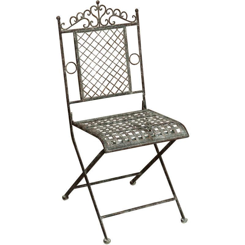 BISCOTTINI Chaise pliante de salle à manger de jardin d'extérieur en fer forgé fini