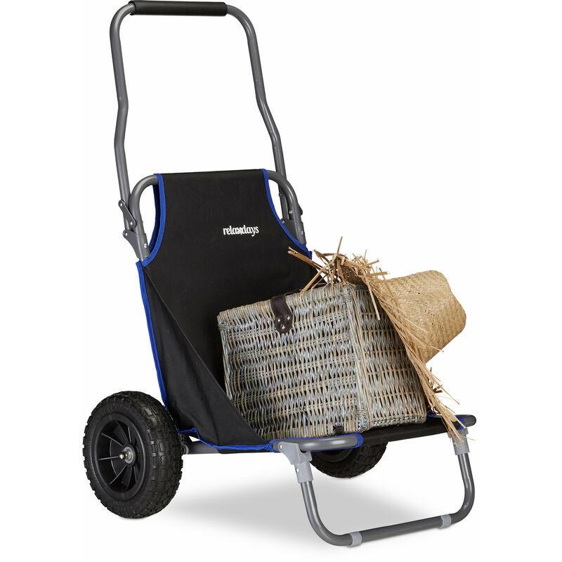 Relaxdays - Chariot de Plage Pliant, Chaise de Plage à Roulettes Jusqu'à 100 kg