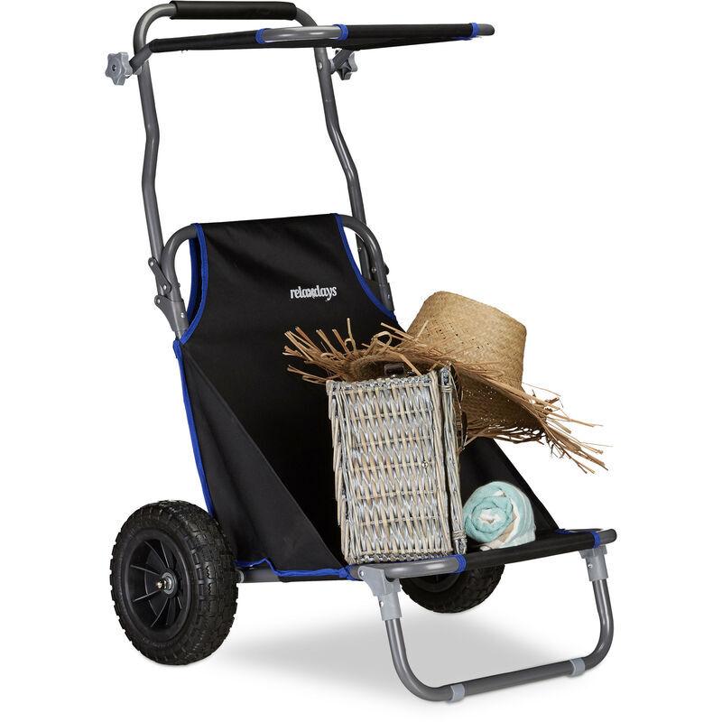Relaxdays - Chariot de Plage Pliant, Chaise de Plage Auvent Roulettes