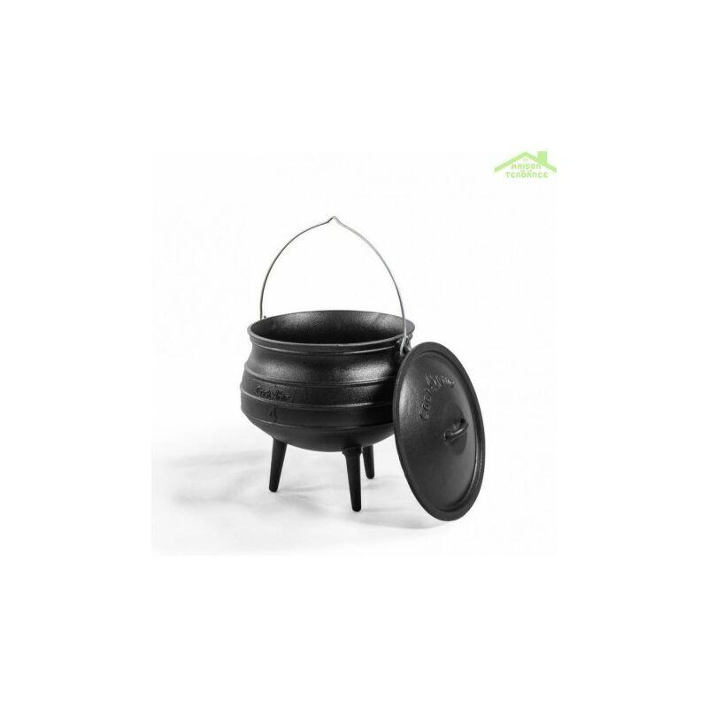 COOK KING Chaudron africain avec pieds pot en fonte avec couvercle 6L, 9L ou 13L - Avec
