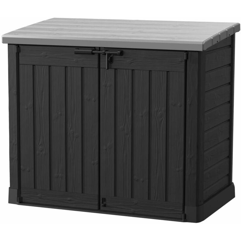 KETER Coffre en résine de jardin multifonctions Noir & Gris - 1200L Toit plat SIO MAX