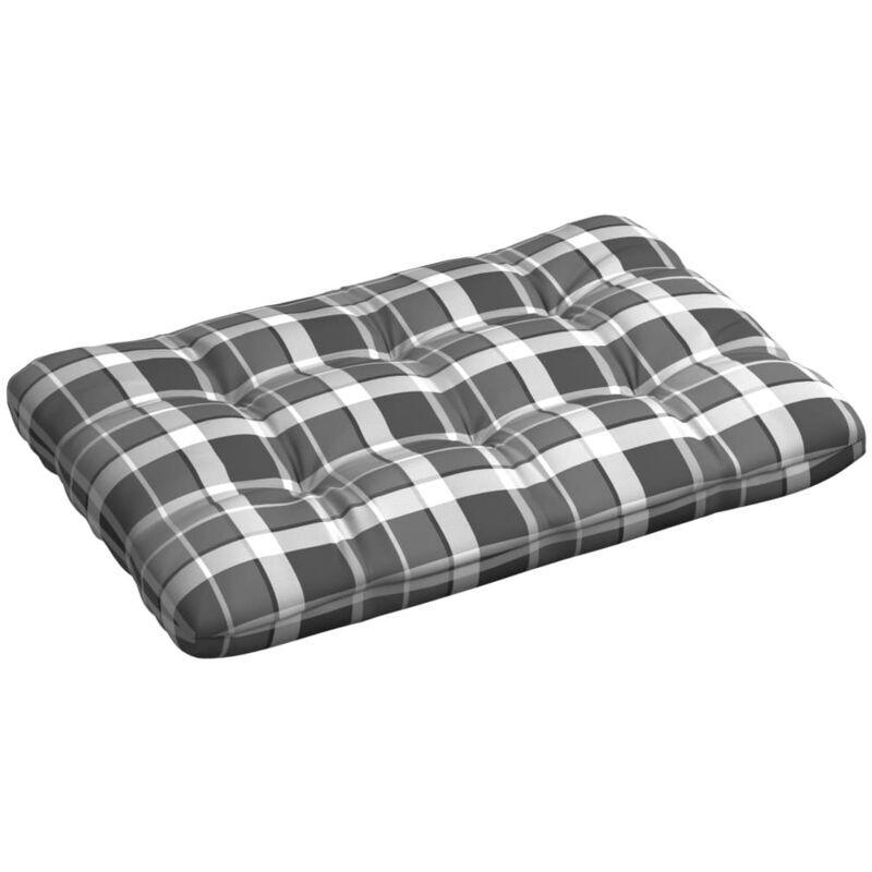 Ilovemono - Coussin de palette Modèle à carreaux gris 120x80x12 cm Tissu