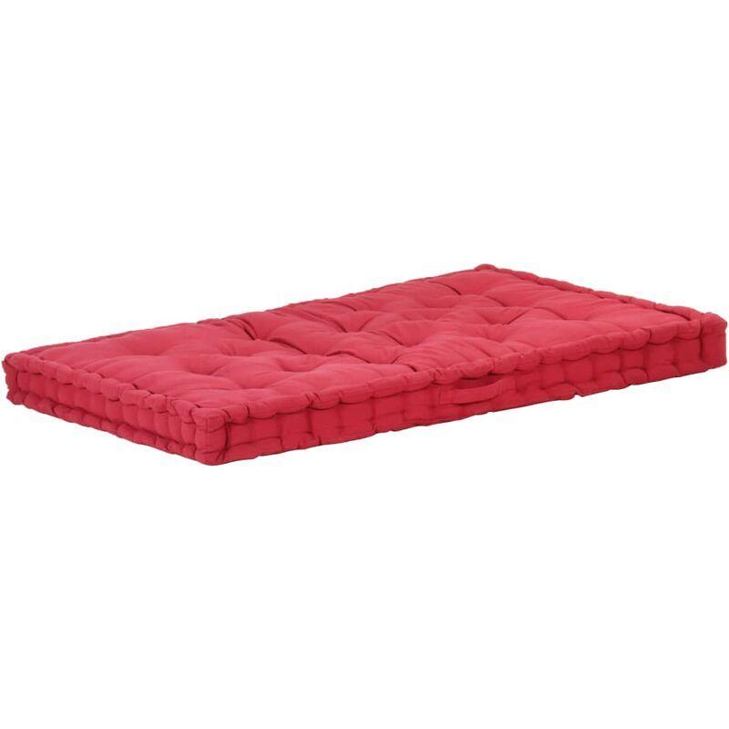 ILOVEMONO Coussin de plancher de palette Coton 120x80x10 cm Bordeaux