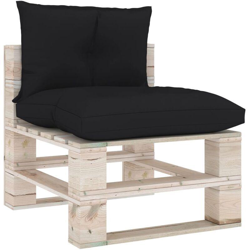 ILOVEMONO Coussins de canapé palette 2 pcs Noir Tissu