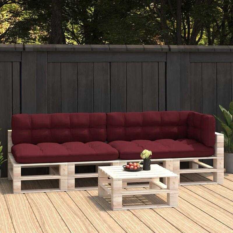 Ilovemono - Coussins de canapé palette 5 pcs Rouge bordeaux
