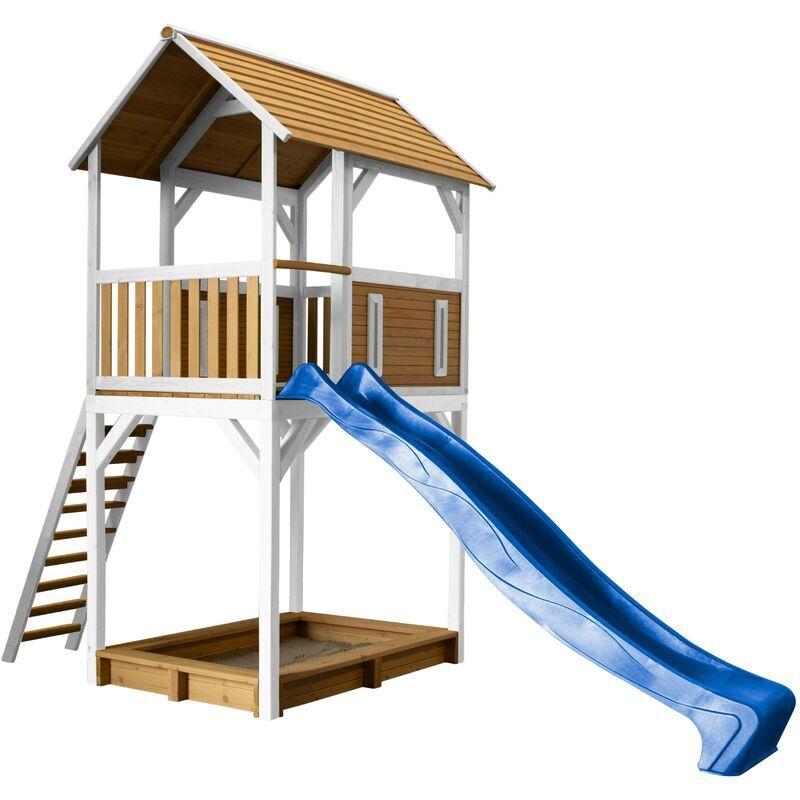 AXI Dory Maison Enfant avec Bac à Sable & Toboggan Bleu   Aire de Jeux pour